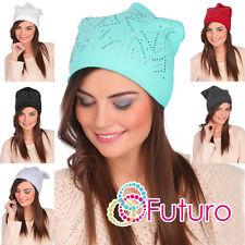 Mesdames chaud beanie chapeau léger cas motif Slouch skater cap FZ52