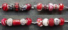 Mezcla de vidrio rojo 5 Diamantes de Imitación Esmalte Sparkle calce europeo pulsera con dijes de perlas,