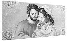 Quadro moderno Sacra Famiglia bn Capezzale Arredo Arte Stampa su tela Intelaiato