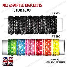 3pcs Assorted Handmade Leather Fashion Friendship Adjustable Bracelets UK Seller