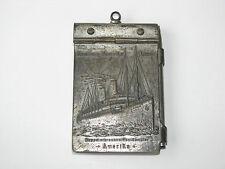 Antique 1906 Hamburg Amerika Linie Steam Ship Crew Note Book Metal Case w/Pencil