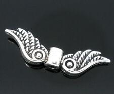 10, 20, 50 oder 100 Metallperlen Flügel, Engelflügel, silberfarben, 22 x 7 mm