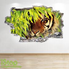 Tigre Autocollant Mural 3D LOOK - chambre salon nature animal Z15
