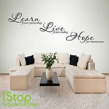 Imparare a vivere la speranza di adesivi murali preventivo-Camera da letto salotto Home Wall Art Decalcomania x158
