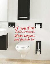 FART... TOILET BATHROOM WALL QUOTE VINYL DECOR STICKER DECAL STENCIL GRAPHIC