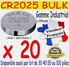 Lot de 20 piles boutons CR2025 VARTA Lithium 3V - Dispo aussi : CR2016 / CR2032
