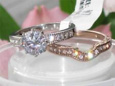 TK966PB  WEDDING ENGAGEMENT RING SET SIMULATED DIAMONDS STEEL & ROSE  NO TARNISH