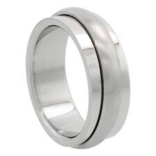 8mm Stainless Steel Spinner Ring w/ Domed Matte Center