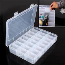 24 Grid / Slot Plastic Jewelry Adjustable Box Case Craft Organizer Storage W
