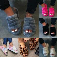 Women Slip On Slippers Slider Fluffy Fur Flat Sandals Ladies Mules Summer Shoes