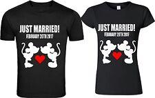 Just Married Mickey & Minnie matching tshirt designs Custom Date, love kiss