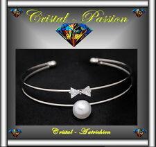 2 Joncs Bangle Bracelet cristal autrichien Noeud perle plaqué argent