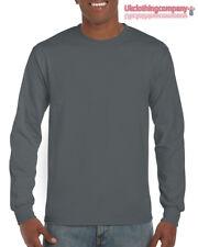 Gris Carbón Gildan Manga Larga Ultra Algodón t-shirt-mens Suéter S M L XL 2xl