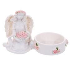 Rose Angel Resin Tea Light Holders Indoor or Outdoor Pink Roses Gift