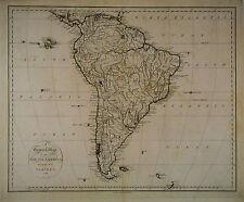 1796 Genuine Antique map of South America. SCARCE. by J. Reid