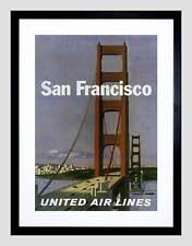 Travel san francisco california golden gate vintage publicité encadrée imprimer B12X1684