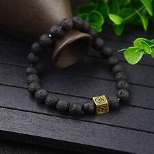 Charm Lucky Lava Stone Yoga Energy Mala Square OM Beaded Diffuser Mens Bracelet