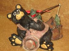 Black Bear Figure Gone Fishing Pole Basket Frog On Bear's Back Decorative Accent