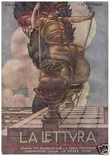 ILLUSTRAZIONE 1921 CARLO PARMEGGIANI DONNA ALTALENA NUVOLE FERRARA PITTURA ARTE