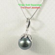 14k White Solid Gold Diamonds 11mm Tahitian Pearl Enhance Bale Pendant TPJ