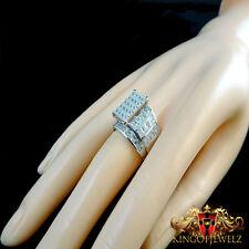 PURE SILVER WOMENS PRINCESS CUT LAB DIAMOND ENGAGEMENT BRIDAL WEDDING RING BAND