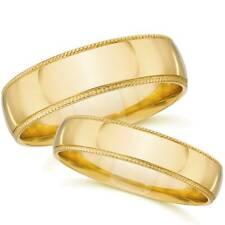 Yellow Gold Matching Wedding Bands Mens Womens Plain Polished 14k Milgrain Rings
