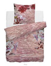 HNL Satin-Bettwäsche Digitaldruck Roxy rosa Blumen Beeren rot  135x200, 155x220