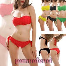Bikini costume bagno fascia effetto sangallo due pezzi mare donna NUOVO D-6