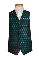 Teal Blue Snooker Dots Circle Waistcoat Vest Wedding Dress Formal UK Men's (B6)
