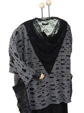 EG 52 54 56 58 60 Bella Blue exquisite Bluse Pullover Shirt Schwarz ÜBERGRÖSSEN