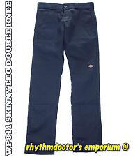 Dickies Mens WP811 DN Skinny Leg Straight Fit Double Knee Work Pant Dark Navy