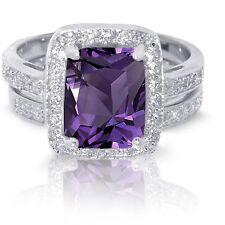 Large Emerald Cut Amethyst Wedding Engagement Sterling Silver Ring Set