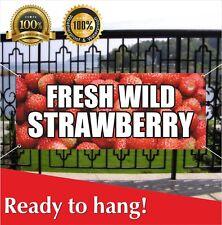 Wild Strawberry Banner Vinyl / Mesh Banner Sign Market Produce Fruit Vegetables