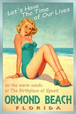 Ormond Beach Florida Atlantic Coast Beach Poster Pin Up Girl Art Print 205