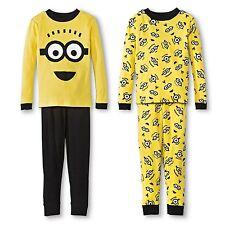 Despicable Me 4 PC Long Sleeve Tight Fit Cotton Pajama Set Boy Size 6 8 10