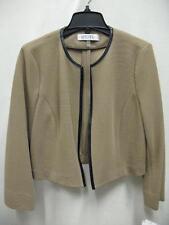 Kasper 10585338 Framed Flyaway Suit Jacket Blazer Tan Black Womens