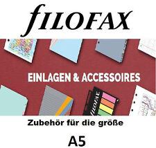 FILOFAX original ZUBEHÖR für Größe A5, Papier, Hüllen, Tel Fax, Adressen, ToDO