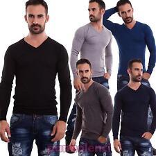 Maglione uomo pullover casual scollo V maniche lunghe basic nuovo CH3152