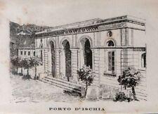 Stampa antica ISCHIA Stabilimento Termale Napoli 1885 Old print