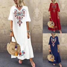ZANZEA 8-24 Women Bell Sleeve V Neck Printed Floral Sundress Kaftan Maxi Dress