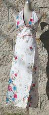 Sundress,wrap around,open back,floral print,100%cotton,white,yellow,sizeXS,S