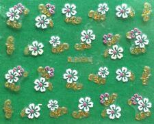 Rose Flower 5-Petals Golden or Silver Rhinestone 3D Nail Art Sticker BLE366