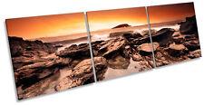 Sunset Beach Surf rocas TREBLE LONA pared arte impresión del marco de la caja