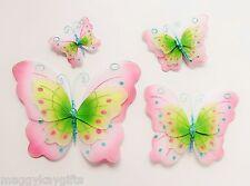 Blu e rosa in tessuto glitter farfalla clip DECORAZIONI - 4 Pack-ragazze camera da letto