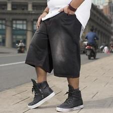 Mens Shorts Loose Fit Denim Trousers Jeans Hip Hop Wide Leg Pants Large Plus SZ