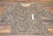 Croft & Barrow Classic Tee Crew Neck Cheetah Leopard Print Easy Care Plus Size