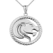 Zodiac in Rope Pendant Necklace .925 Silver Cubic Zirconia Leo