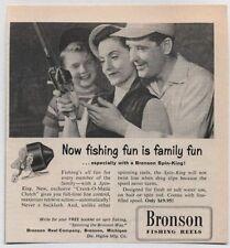 Original 1957 Vintage Magazine Ad for BRONSON SPIN-KING FISHING REELS