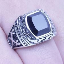 Men's Vintage Silver Stainless Steel Black CZ Harley Biker Ring Size 8-12 SR136