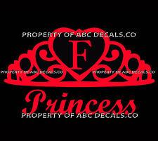 VRS Crown Royal Tiara Queen Princess Heart Love Custom INITIAL F Car Vinyl Decal